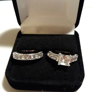 BERRICLE  Silver Princess Cut Cubic Zircona Set